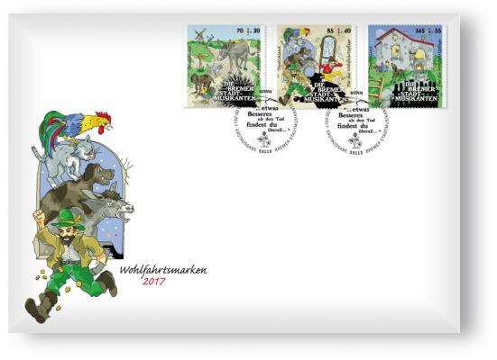 Ersttagsbrief mit 3 Wohlfahrtsmarken - Bonn