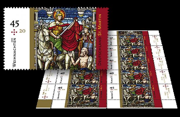 45 ct-Marke 10er-Bogen St. Martin (2011)